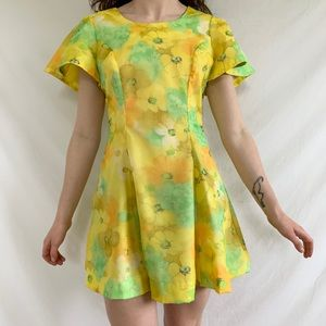 Vintage 70s 1970s Psychedelic Floral mini dress